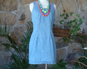 90s DENIM BODYCON DRESS vintage minidress S