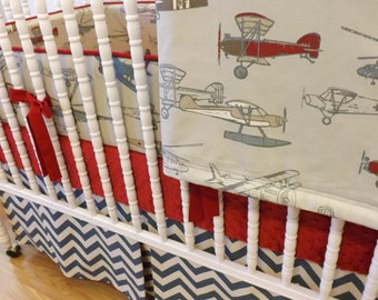 Baby Bedding-Made to Order-4 pc Vintage Airplane Crib Bedding Set