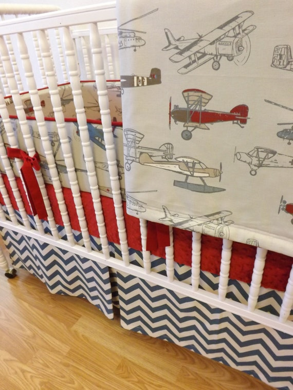 Crib Bedding Baby Boy Rooms: BOY Baby Bedding-Airplane Bedding MADE To ORDER-4 Pc Vintage