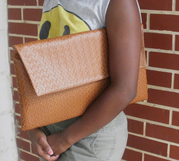 Messiah Brown Weave Oversized Clutch By LoveHarmony Bags