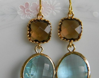 Gold Topaz  Dangle Earrings- Aquamarine Dangle Earrings-Bridesmaid Earrings-Bridal-Wedding Earrings