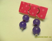 Purple Jade and Garnet Earrings