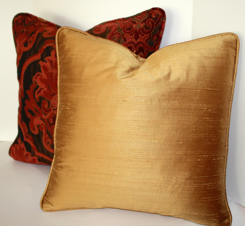 Gold Silk Decorative Pillow : Decorative Pillow Cover 16 inch Gold Slubby Silk