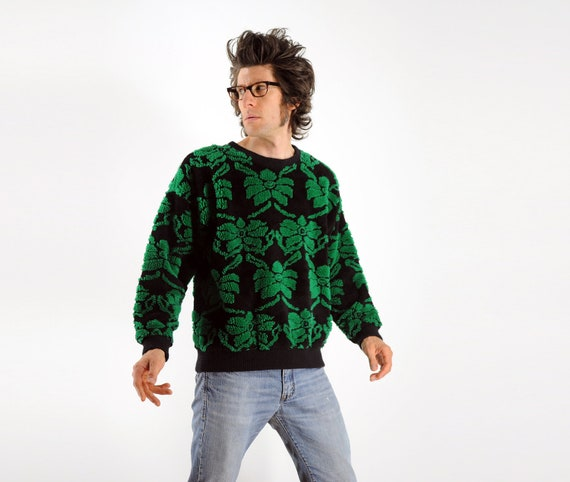 ugly christmas sweater green leaf pattern plush fuzzy thick chunky shoulder pad small medium large