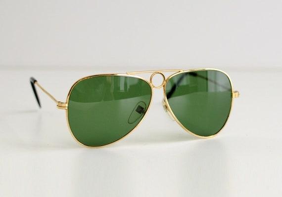70s aviator gold metal sunglasses 1970 circle bridge green lens perfect condition