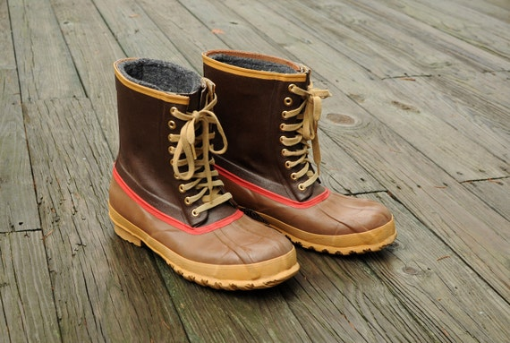 Frost King duck boots rain hunting shoes insulated brown tan red stripe mens size 12