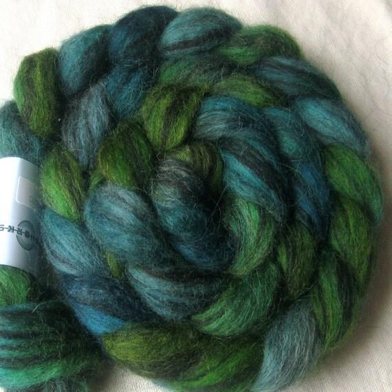 Icelandic humbug wool roving, 'Blue Green'