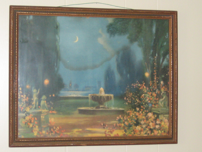 R Atkinson Fox Vintage Framed Print Moonlight And Roses