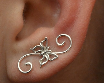 Swirly Butterfly Mini Earring Pin - Gold Filled and Sterling Silver - SINGLE SIDE