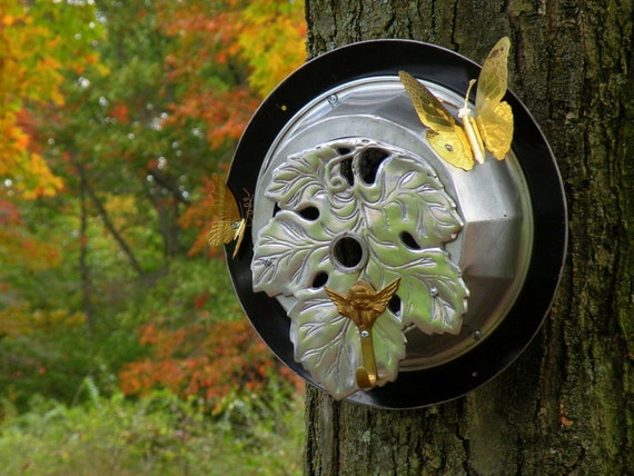 Dad Gift Recycled Metal Bird House Garden Decor