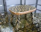 Very chic Upcycled decorative foot stool stepping stool Animal print hand painted Cheetah Giraffe Zebra