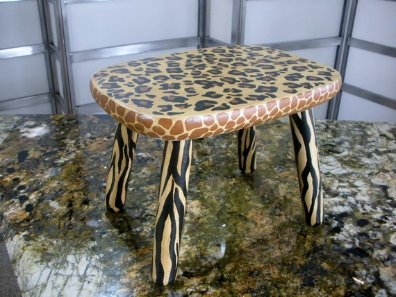 Very Chic Upcycled Decorative Foot Stool Stepping Stool By