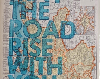 Germany  / May The Road Rise With You/ Letterpress Print on Antique Atlas Page