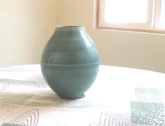 Studio Pottery Vessel - Large Vase with Blue Green Glaze - Signed