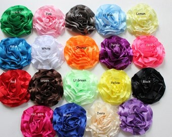 5 Pcs-Satin Ruffle Rosette-Ribbon Flower-Satin Flower-Applique-silk flower-Rolled Flower-Rolled Rose-wholesale fabric flower