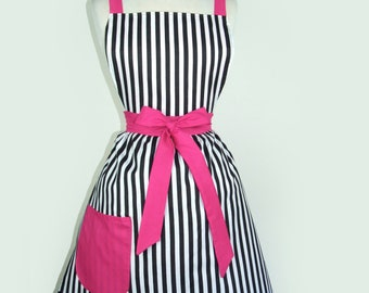 Apron  Vintage Inspired Black and White Striped Chic French Apron FREE SHIPPING