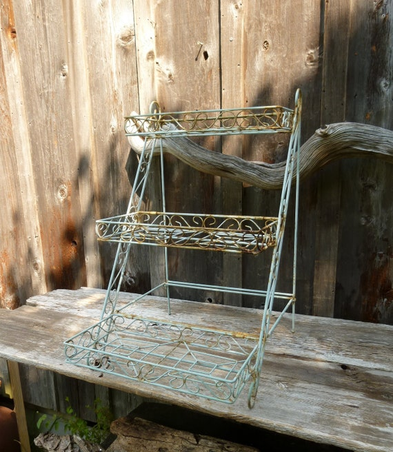 Cool Metal Shabby Chic Three Tier Plant Stand