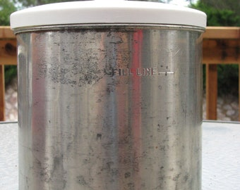 Vintage Ice Cream Maker Tin Canister Insert with Plastic Lid and Plastic Paddle