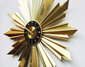 Rare Mid Century Modern Starburst Wall Clock by Welby. Brilliant Modernist Minimalist Design, Sunburst Clock with Sun Rays