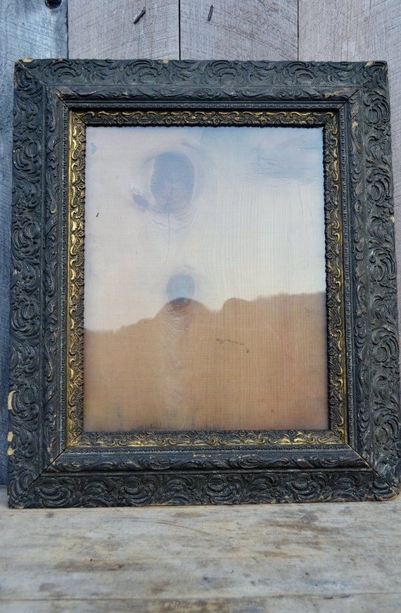 Antique Gesso Frame Victorian Black Gold Gilt Ornate Molded Chippy Wavy Glass