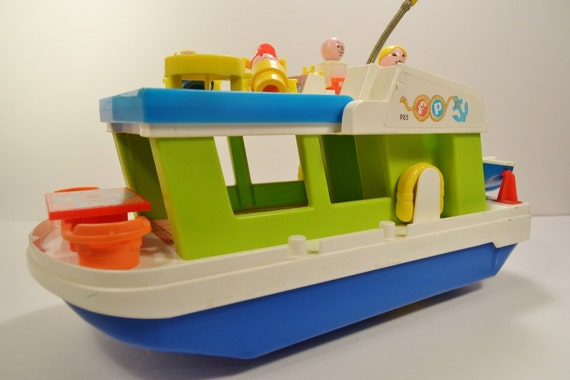 Price little people house boat playset speed boat water playset 1970 s