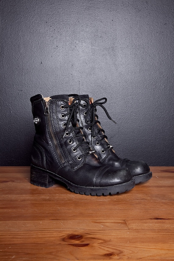 RESERVED 90s Harley Davidson  lace up black leather biker boots with zippers 5