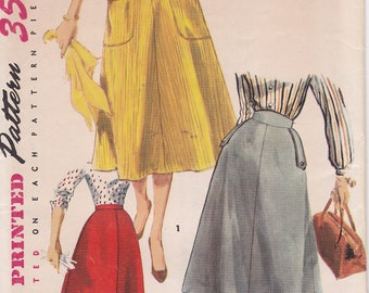 1954 Uncut Skirt sewing pattern Simplicity 4850 Waist 26 Hip 35 Simple to Make