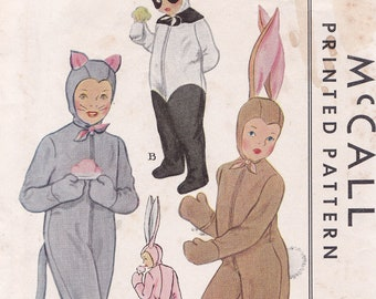 Bunny Panda Mouse Rabbit Size 10 costumes for boys or girls McCalls 1485 From 1949