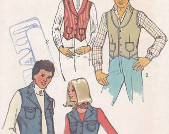 Simplicity 7285 Miss Size 16 Bust 38 Vest sewing pattern from 1975 uncut