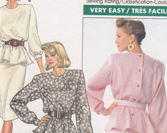 1980s fashion Sewing Pattern Butterick 5836 Sizes 12 14 16 Top with Peplum and straight skirt very easy uncut sewing pattern from 1987