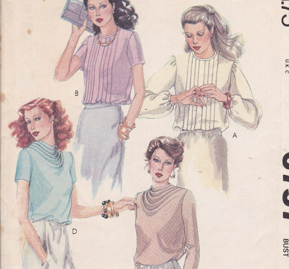 McCalls 6757 Size 10 Old Hollywood style blouse sewing pattern from 1979
