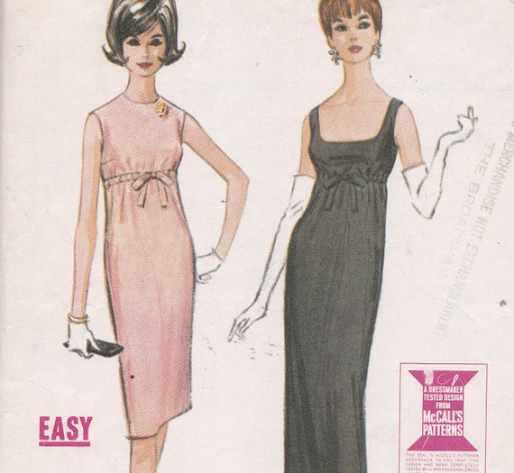 1963 McCalls 7043 size 10  Breakfast at Tiffany's style dress Easy Quickie sewing pattern long or knee length