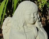 MEDIUM MEDITATING ANGEL Original Copyrighted Sculpture. Made for Outdoors (c)