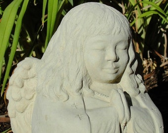 MEDIUM MEDITATING ANGEL Original Copyrighted Sculpture. Made for Outdoors (c)