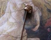 Vintage Brass Deco Bull Stick Pin
