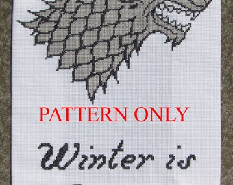 Stark Sigil and Words - Game of Thrones Cross Stitch Pattern