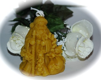 Traditional Santa Beeswax Candle - Kris Kringle with his Bag of Toys Beeswax Candle - Old World St. Nicholas Beeswax Candle