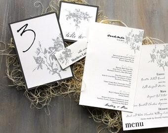 "Classic & Elegant Wedding Menus, Elegant Wedding Table Numbers, Personalized Place Cards - ""All White"" StationeryDeposit"