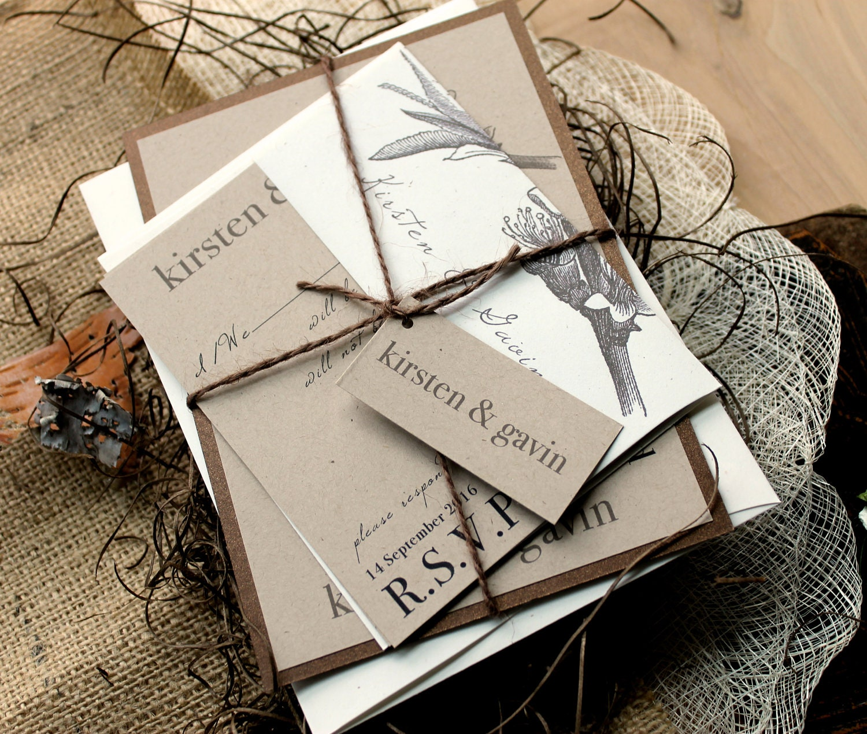 Elegant Wedding Invitations: Rustic Wedding Invitations Wedding Invitation By BeaconLane