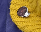 hedgehog brooch pin badge button black white brown hand drawn illustration art shrink plastic woodland hedgie doodle ready to ship