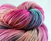 "Merino Cashmere Luxury Sock Yarn Hand Dyed Superwash ""I Never Promised You A Rose Garden"" - UK Seller"