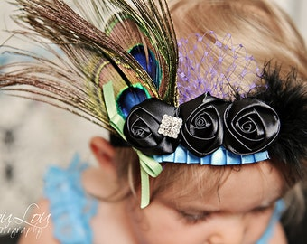 PEACOCK Blue and Marabou Feathers Rosette Ruffled Newborn Infant Toddler Big Girl Headband Add Peacock Blue Lace Petti Romper