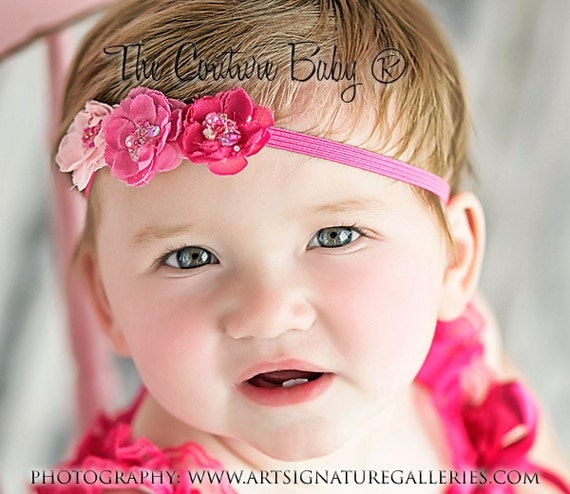 TRIPLE PINK Hot Pink and Pink Sequin Headband Photography Prop