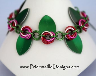 Red and Pink Flower Chain Bracelet - Anodized Aluminum Jewelry