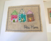 Appliqued three little houses 'New home' moving card