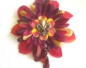 Autumn Fleur De Lis Beaded Flower Hair Clip in Red Gold and Yellow
