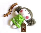 """Stuffed toy rag doll soft toy softie stuffed puppet plushie baby girl kid white green polka dotted dress clothes 10"""" 25 cm"""