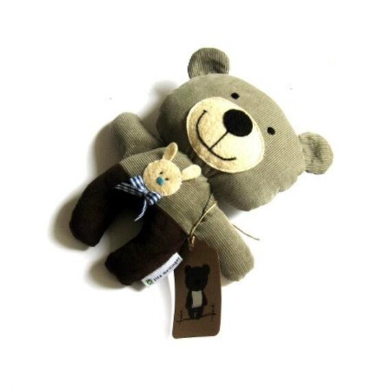 "Teddy bear rag doll toy plushie stuffed animal handmade brown gray grey chocolate brown plush soft softie child safe blue car 25 cm 9.8"""
