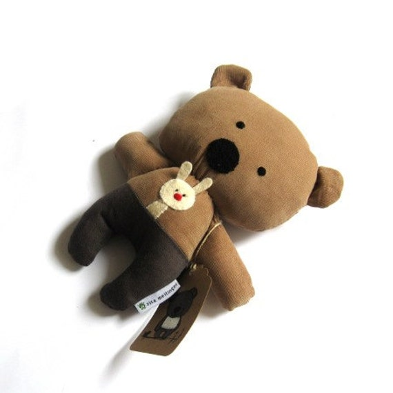 Stuffed toy stuffed bear teddy bear rag doll soft toy bear plushie rag doll toy stuffed animal handmade toy brown bear 25 cm 9.8""