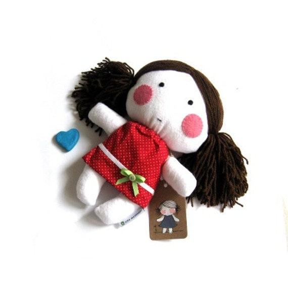 Rag doll toy stuffed puppet plushie softie girl handmade kid kids cuddly child friendly safe white red polka dot dotted dress clothes 11""
